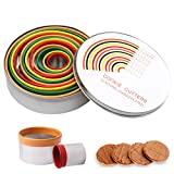 Round Cutter Set, nuoshen 12 Pcs Pastry Cookie Cutter Set Stainless Steel Circle Biscuits Cutter Molds with Colorful Rubber Coating in Storage Box