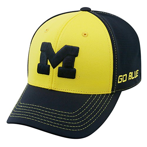 Top of the World NCAA-Dynamic-1-Fit-Memory Fit-Hat Cap Gr. Einheitsgröße (Medium/Large), Michigan Wolverines-Maize/Dk Blue