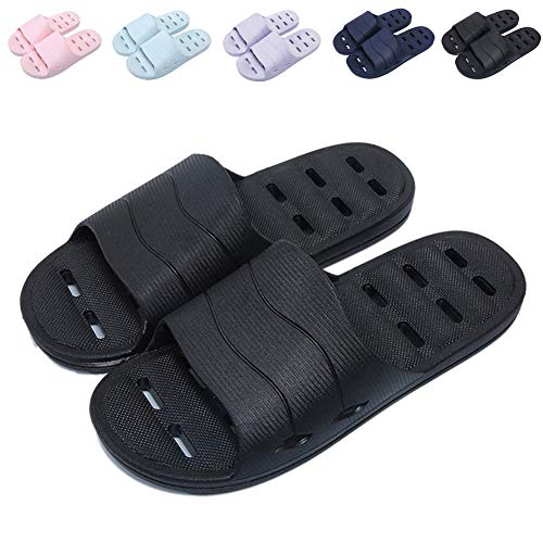 Shower Sandal Slippers with Drainage Holes Quick Drying Bathroom Slippers Gym Slippers Soft Sole Open Toe House Slippers for Men and Women,14black,46.47
