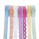 Lest 7 rollos de cinta adhesiva Washi autoadhesiva, cinta de encaje, multicolor, cinta decorativa brillante, para manualidades, scrapbook