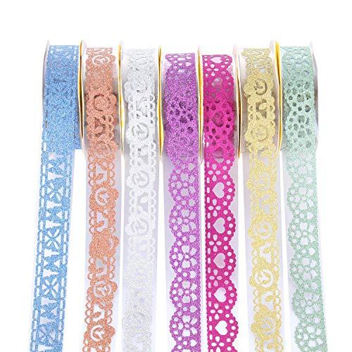 Lest Washi - 7 rollos de cinta adhesiva decorativa de colores, cinta adhesiva decorativa con purpurina, para scrapbook (2 juegos)