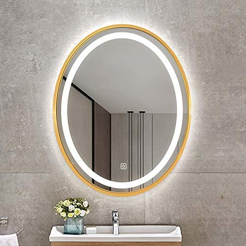 Espejo De Maquillaje Ovalado Dorado, Espejo De Baño Iluminado por LED De Montaje En Pared, Marco De Aleación De Aluminio, Interruptor Táctil Inteligente, Función Antivaho