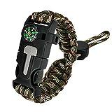 Splendorflying Adjustable Bracelet, 7 core 5 in 1 Emergency Sports Wristband Gear kit Waterproof, Compass, Multi-Tool Wilderness Adventure Umbrella Rope Bracelet (SFV088 Green)
