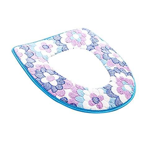 Livecity fiore morbido caldo per copriwater sedile coperchio Pad tappetino cuscino per sedia da bagno, Pile corallo, Blue, 43cm x 36cm