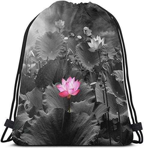 KINGAM Bolsa de deporte Lotus Flower Gym Bag para mujeres y hombres, mochila con cordón con bolsillos impermeable de nailon bolsa grande