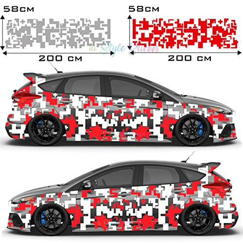 Auto Aufkleber Tattoo Seitenaufkleber Pixel, Camouflage Seiten Sticker, Flecktarn Set, 70 Teiliges Set - 2 Farbig