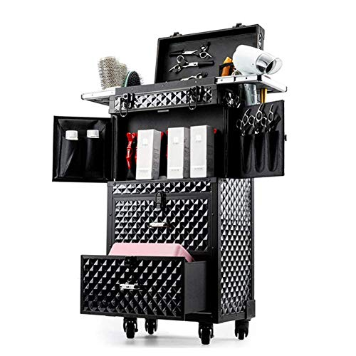 AOO Large Professional Makeup Case, 2 In 1 Rolling Makeup Travel Case with Sliding Drawers,Brush Hair Dryer Holder