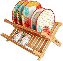Bamboo 2 Tier Dish Drying Rack - Collapsible Dish Drainer