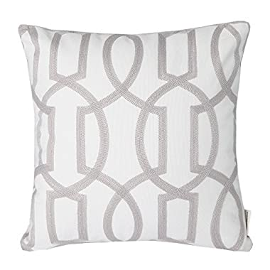 Mika Home Cotton Embroidery Geometric Links Accent Decorative Throw Pillow Cover Sofa Cushion Case for 18X18 inserts Grey White