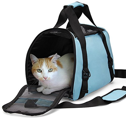 "Dotala Cat Travel Carrier Bag, Comfort Portable Foldable Pet Bag Airline Approved for Small Dogs,Cats and Puppies Small Animal(S: 15.7""L×7.8""W×11.8' H) (Blue)"
