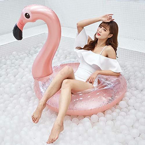 Volowoo Flamingo-Schwimmring, aufblasbarer Flamingo-Pool-Floss für Parteien-Sommerferien (120cm)