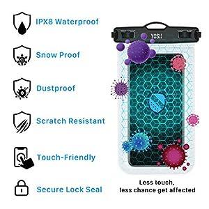 YOSH Funda Impermeable Móvil Universal 2 Unidades, IPX8 Bolsa Impermeable Móvil Funda Sumergible para iPhone 11 X XiaoMi RedMi Note 8 Huawei P30 Samsung BQ Aquaris y Otros Móviles hasta 6.5 Pulgadas