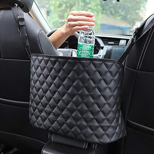 ANLEM Auto Netztasche Handtaschen, Car Net Pocket Handtaschenhalter Autositztasche Leder Lederhandtaschenhalter Autotaschen-Aufbewahrungsorganisator zwischen den Vordersitzen für Auto und LKW-Schwarz