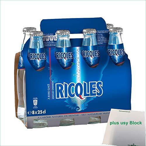 Schweppes RICQLES Menthe 8 x 250ml Flasche (Minzgetränk mit Kohlensäure) + usy Block