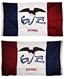 AES 3x5 Embroidered State of Iowa Double Sided 210D Nylon Flag 3 x5  Banner Grommets Double Stitched Fade Resistant Premium Quality