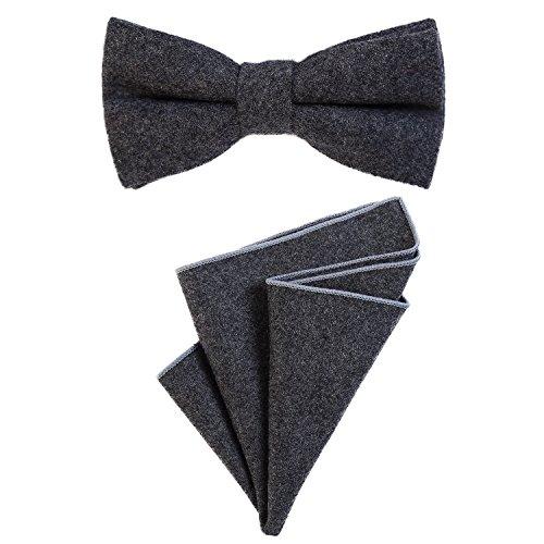 DonDon Herren Fliege 12 x 6 cm gebunden längenverstellbar und Einstecktuch 23 x 23 cm farblich passend aus Baumwolle dunkelgrau