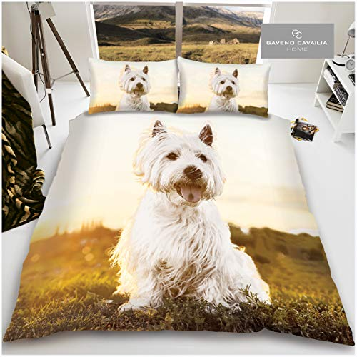 Gaveno Cavailia 3D Scottie Cute Pet Duvet Set, Easy Care Quilt Cover and Pillowcases, Super Soft Dogs Love Bedding, Poly-Cotton, Double Size, 50% Polyester, White Westie
