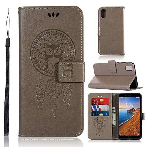 Zchen Xiaomi Redmi 7A Hülle, Kunstleder Portemonnaie Handy-Schutzhülle Book Flip Design Klapphülle Etui Tasche für Xiaomi Redmi 7A (Eule-Grau)