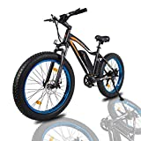 "ECOTRIC Powerful Electric Bicycle 26"" Fat Tire Blue Rim Ebike Beach Snow Mountain Bike with 500W Motor 36V/13AH Removable Battery (Blue)"
