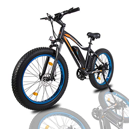 """ECOTRIC Powerful Electric Bicycle 26"""" Fat Tire Blue Rim Ebike Beach Snow Mountain Bike with 500W Motor 36V/13AH Removable Battery (Blue)"""