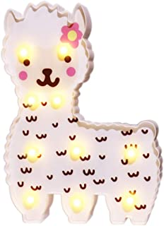 LED Painted White Flower Alpaca Night Light, Llama Marquee Signs,Night Light Home Decor for Kids, Baby Shower, Nursery, Living Room-Warm White