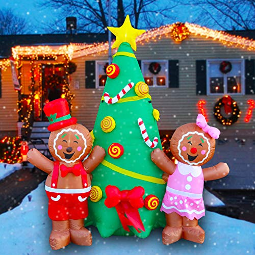 SEASONBLOW 7 Ft LED Lighted Inflatables Christmas Gingerbread Boy and Girl with Xmas Tree Decoration for Yard Garden Lawn Indoors Outdoors Home