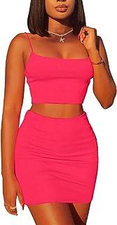 Kaximil Women's Summer 2 Piece Outfits Cami Crop Top Bodycon Skirt Mini Club Dress