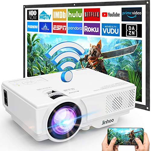 [WiFi Beamer] Beamer, Wireless Beamer 5000 Lumen Unterstützt 1080P Full HD, WiFi Projektor Native 720P Kompatibel mit Smartphone Tablet TV Stick Spielekonsole HDMI USB TF AV, Heimkino Beamer, Weiß