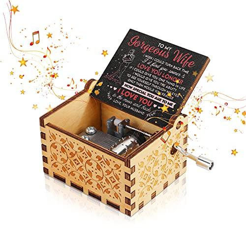 Achort Caja de música para esposa que eres mi sol, regalo de marido a esposa, caja de música de manivela de mano vintage, regalo para cumpleaños, Navidad, día de San Valentín, decoración del hogar