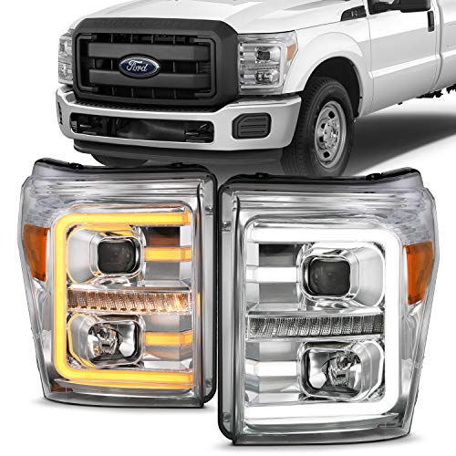 AmeriLite Replacement Headlights for 2011-2016 Ford F250/350/450 Super Duty Switchback LED Tube Quad Projector Chrome Assembly Set - Passenger and Driver Side
