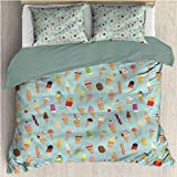 Ice Cream Comforter Bedding Set Quenn, 1 Print Duvet Cover 2 Pillowcases, Yummy Fruity All Season Quilt Set for Any Bed Room Or Guest Room