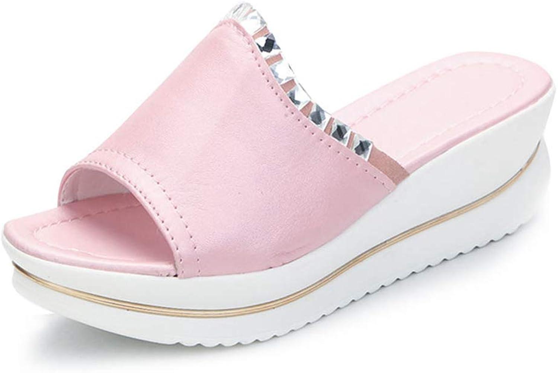 Zarbrina Women Wedges Footwear Platform Ladies Slides Summer Sandals Crystal Beach shoes Lightweight and Comfortable Non-Slip Sole