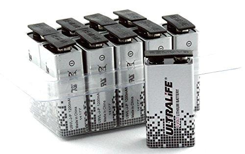 Ultralife Lithium Batterie (9 Volt, E-Block, U9VL, U9VL-J-P, 1200mAh) in 10er Box