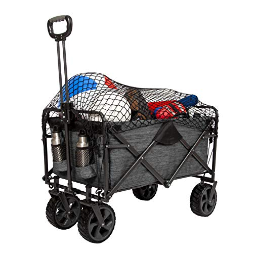 "MacSports XL Collapsible Folding Outdoor Utility Wagon | Extra Deep Heavy Duty Cart with Wheels for Shopping, Gardening, Tailgating | 32.5"" L x 18"" W x 12.5"" H Interior with Cargo Net"