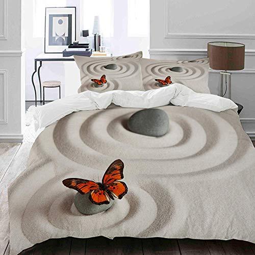 Bedding Bettwäsche-Set,Zen Rock auf dem Sand Schmetterling Gelassenheit Lebenszyklus Natur Meditation Dekor, Beige...