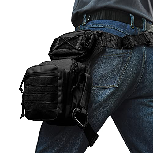 ATZB Drop Leg Bag for Men Military Tactical Thigh Pack Pouch Multifunctional Tactical Package Outdoor Hiking Thigh Bag