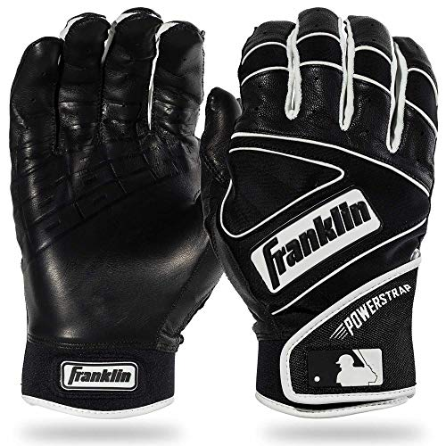 Franklin Sports MLB Powerstrap Baseball-Handschuhe, schwarz/schwarz, Adult XX-Large