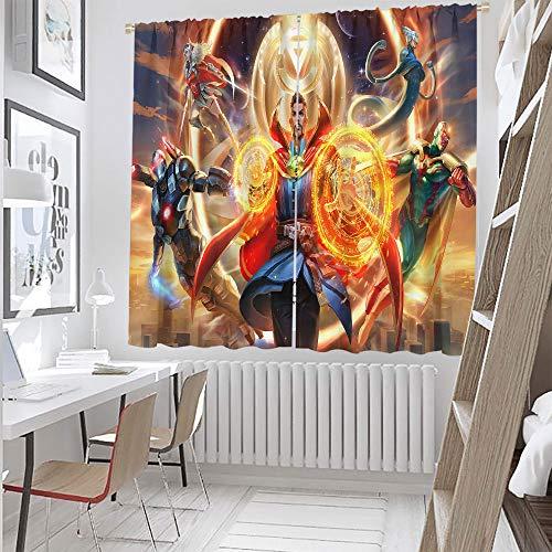 Sdustin The Avengers, Doctor Strange (26) cortinas con patrón de superhéroe, cortinas de 183 x 243 cm, para dormitorio, cocina, sala de estar (tela de poliéster)