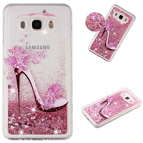 HopMore Silicona Funda para Samsung Galaxy J7 2016 Glitter Liquido 3D Brillante Purpurina Motivo Transparente Dibujo Carcasa Resistente Ultrafina Antigolpes Caso Protección Soft Case - Tacones Altos