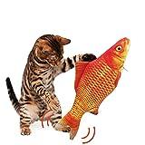 Autoau Juguetes para Gatos Juguete Gato Interactivo Hierba Gatera, Pez de Simulación de Felpa Móvil con Carga USB, Catfish Juguete Gatos Suministros Que Se Pueden Usar para Morder, Patear y Dormir