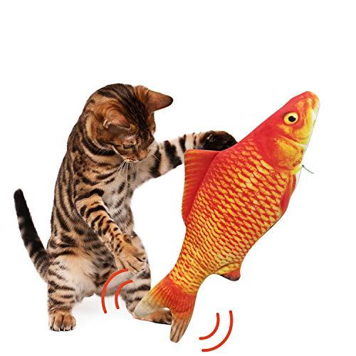 Katzen-Fischspielzeug, elektrischer schwimmender Fisch für Katze Hund Kauspielzeug Simulation Fisch lustig interaktives Haustier Kissen Bite Kick Move Wag Katzenspielzeug, Roter Karpfen
