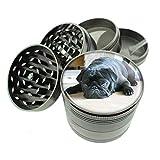 Dog black pug Titanium 4 PC Magnetic Grinder 2.1' Hand Mueller