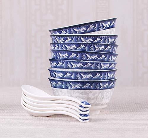 Qilo Porcelana Azul y Blanca Tazón + Cuchara - Nueva Bone China Material - vidriado Vajilla - Apto for lavavajillas, desinfección armarios, hornos de microondas (Size : 6 Pieces Bowl)