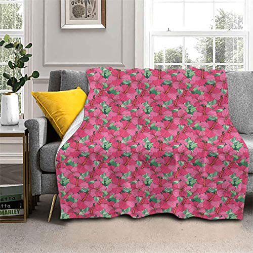 Throw Blanket Flourishing Hibiscus Blooms Comfort Luxury Faux Throw Blanket Perfect for Bed Sofa Couch 60 x 80 Inch