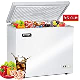 Commercial Top Chest Freezer - Kitma 9.6 Cu. Ft Deep Ice Cream Freezer with 2 Storage Baskets, Adjustable...