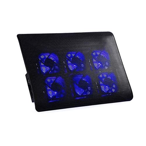 LORIEL Refrigerador Portátil Portátil, con 6 Ventiladores Y 2 Puertos USB Placa De Base De Ventilador De La Computadora De Velocidad Ajustable para PC Portátiles