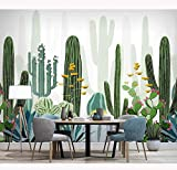 Etiquetas engomadas de papel de la pared de la planta tropical Papel pintado verde de la foto del cactus verde Papelpintado deldormitorio de la sala de estar, 200 * 140Cm