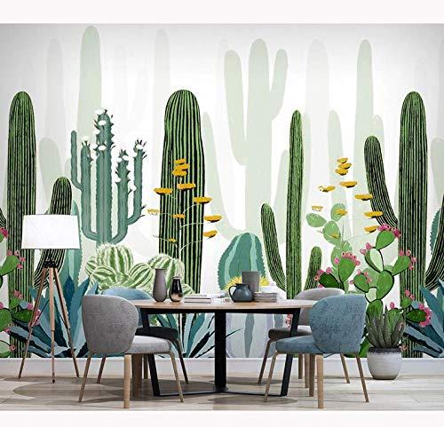 Adesivi di carta da parati di piante vegetali tropicali Cactus verde Wallpaper Wallpaper Murale Carta da parati 3D soggiorno camera da letto, 150 * 105Cm
