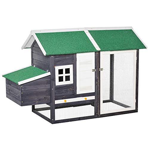 Pawhut Hühnerstall modern Hühnerhaus mit Nistkasten und einem komplett überdachter Laufstall, Grau, Kiefer, Metalldraht, Asphalt, 170x81x110 cm
