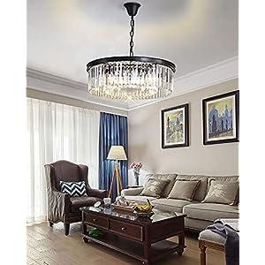 "D21.6"" Modern Crystal Chandeliers 40inch Long lamparas Pendant Light K9 Crystal Iron Art Fixtures High Ceiling Chandelier, Entrance Hall Duplex House Dining Room Living Room Shandaler + 6Bulb 4K"